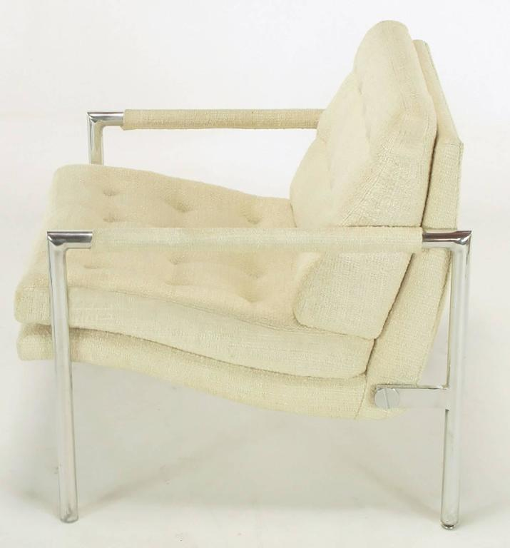 Pair of Polished Aluminum & Linen Lounge Chairs in the Manner of Harvey Probber For Sale 1