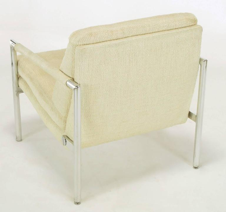 Pair of Polished Aluminum & Linen Lounge Chairs in the Manner of Harvey Probber For Sale 2