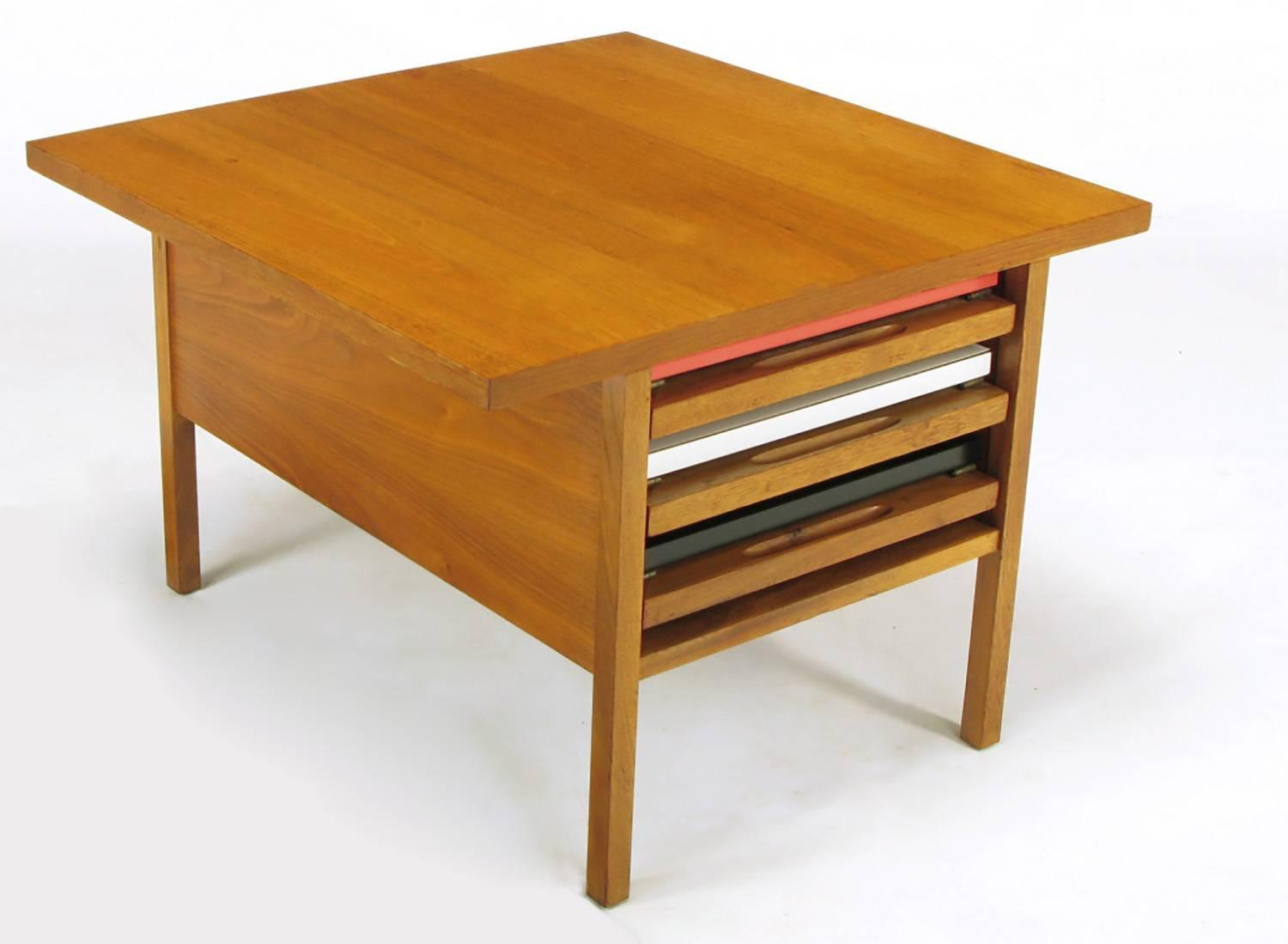 John Keal Walnut Coffee Table With Three Folding Side Tables For Sale
