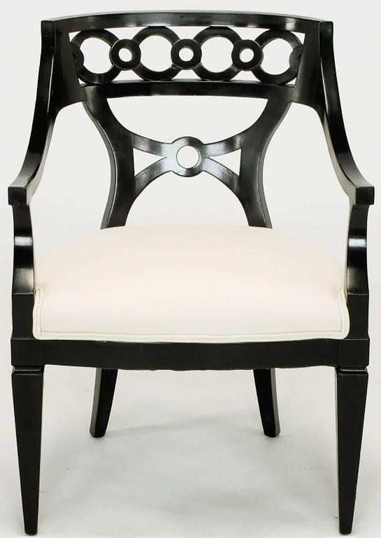 American Pair of Black Lacquer and Wool Armchairs with Interlocking Rings For Sale
