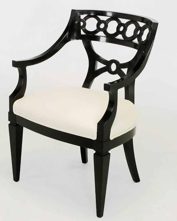 Pair of Black Lacquer and Wool Armchairs with Interlocking Rings In Excellent Condition For Sale In Chicago, IL