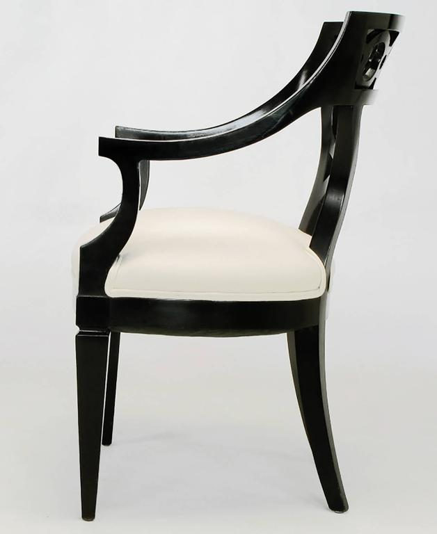 Mid-20th Century Pair of Black Lacquer and Wool Armchairs with Interlocking Rings For Sale