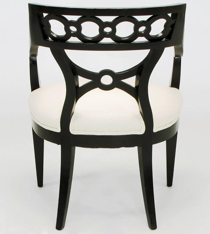 Pair of Black Lacquer and Wool Armchairs with Interlocking Rings For Sale 1