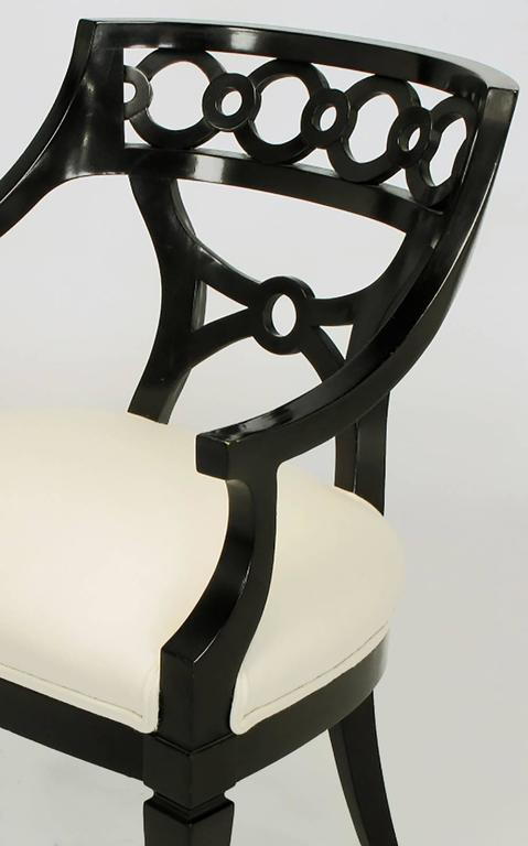 Pair of Black Lacquer and Wool Armchairs with Interlocking Rings For Sale 2
