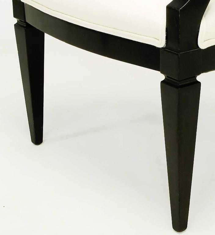 Pair of Black Lacquer and Wool Armchairs with Interlocking Rings For Sale 3