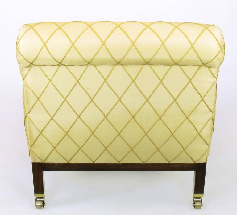 Embroidered Edward Wormley for Dunbar Rolled Back Club Chair For Sale
