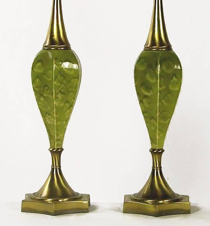 Pair of Rembrandt Green Ceramic and Brass Table Lamps In Good Condition For Sale In Chicago, IL