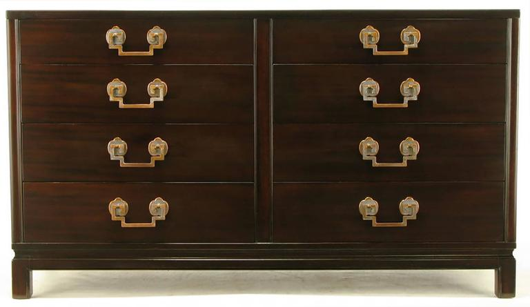 American Landstrom Furniture Ribbon-Mahogany and Brass Eight-Drawer Dresser For Sale