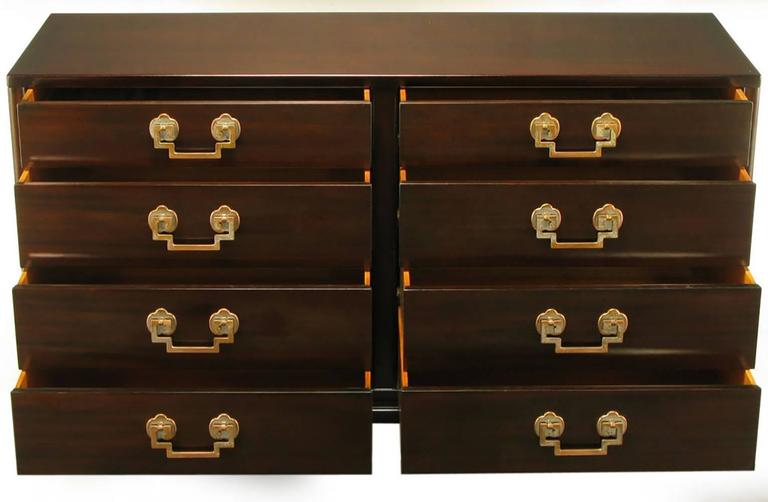 Landstrom Furniture Ribbon-Mahogany and Brass Eight-Drawer Dresser In Excellent Condition For Sale In Chicago, IL