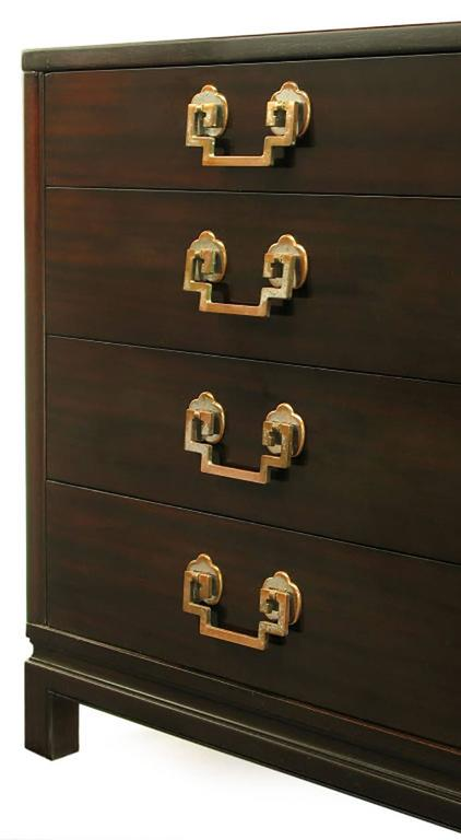 Mid-20th Century Landstrom Furniture Ribbon-Mahogany and Brass Eight-Drawer Dresser For Sale