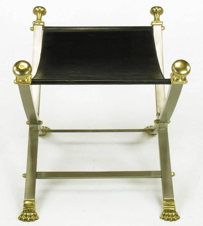 Late 20th Century Pair of Maison Jansen Black Leather, Brass and Brushed Nickel Benches For Sale