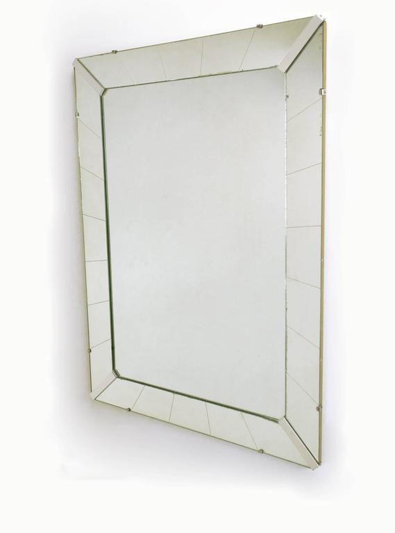 Tall Reverse Striated And Mirrored Frame Art Deco Mirror
