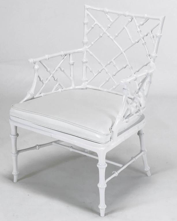 American Six Phyllis Morris Cast Aluminum White Lacquer Chinese Chippendale Dining Chairs For Sale