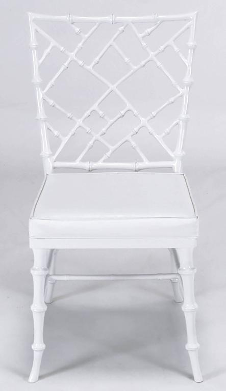 Lacquered Six Phyllis Morris Cast Aluminum White Lacquer Chinese Chippendale Dining Chairs For Sale