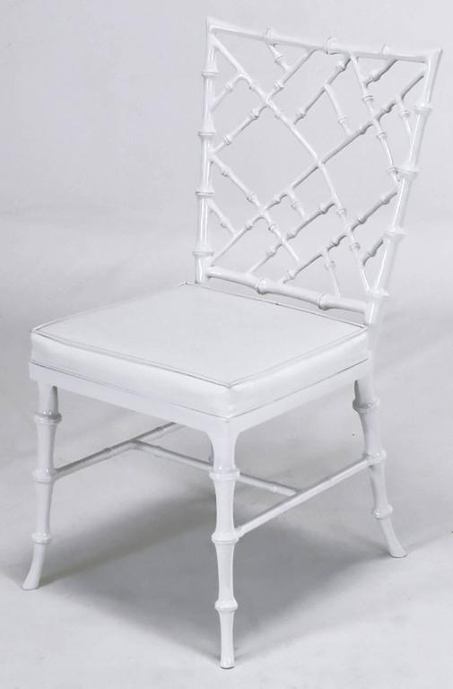 Six Phyllis Morris Cast Aluminum White Lacquer Chinese Chippendale Dining Chairs In Excellent Condition For Sale In Chicago, IL