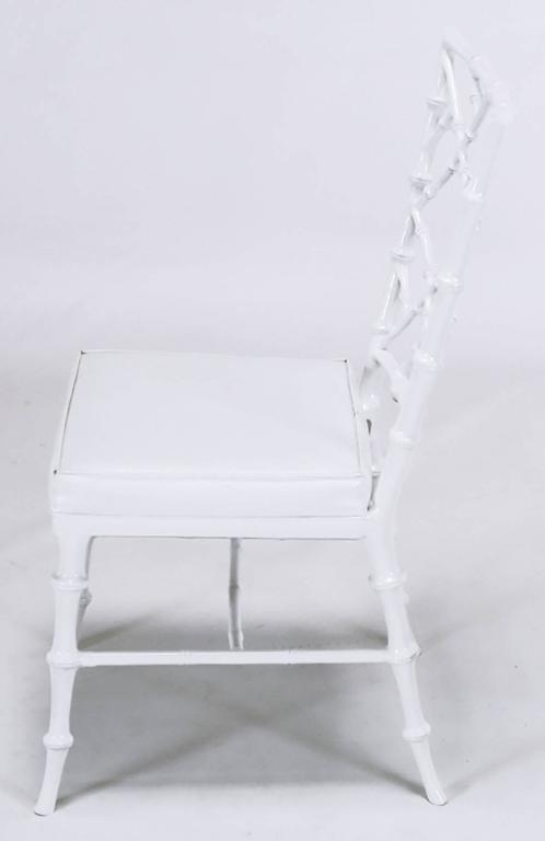 Late 20th Century Six Phyllis Morris Cast Aluminum White Lacquer Chinese Chippendale Dining Chairs For Sale