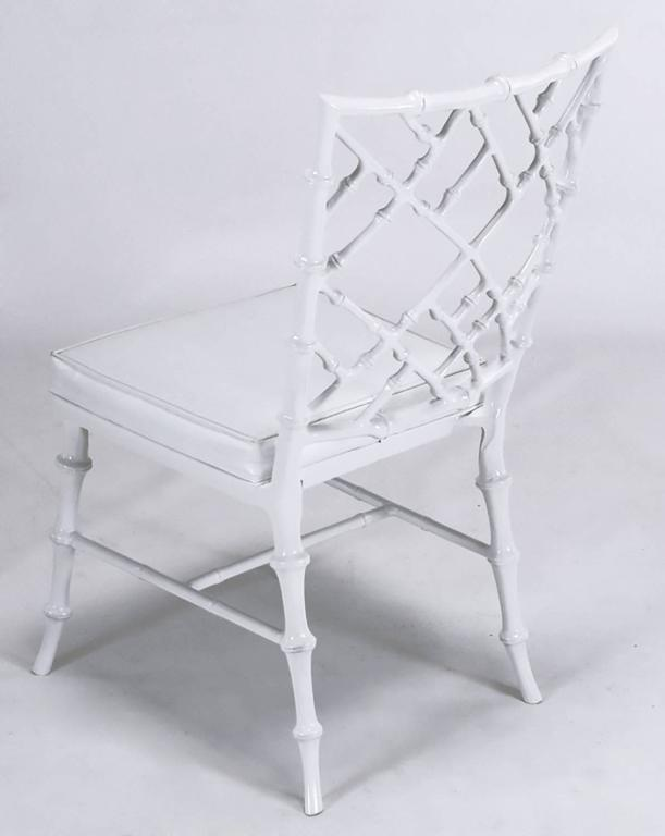 Six Phyllis Morris Cast Aluminum White Lacquer Chinese Chippendale Dining Chairs For Sale 1