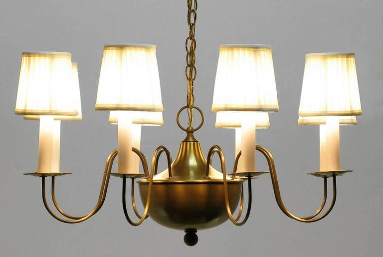 Fine Hand-Spun Brass Eight-Light Chandelier with Delicate Arms In Excellent Condition For Sale In Chicago, IL