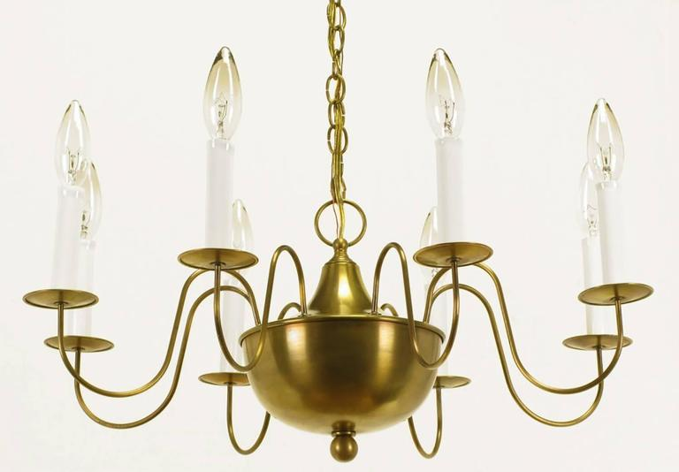 Late 20th Century Fine Hand-Spun Brass Eight-Light Chandelier with Delicate Arms For Sale