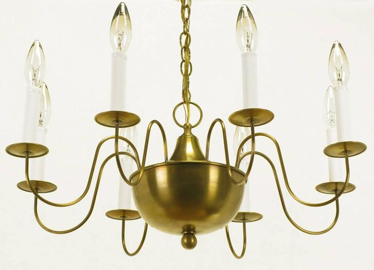 Fine Hand-Spun Brass Eight-Light Chandelier with Delicate Arms For Sale 1
