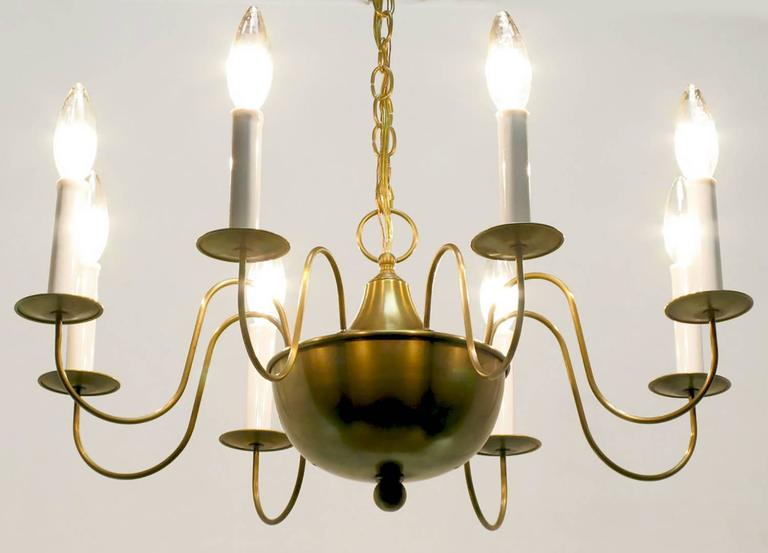 Fine Hand-Spun Brass Eight-Light Chandelier with Delicate Arms For Sale 2