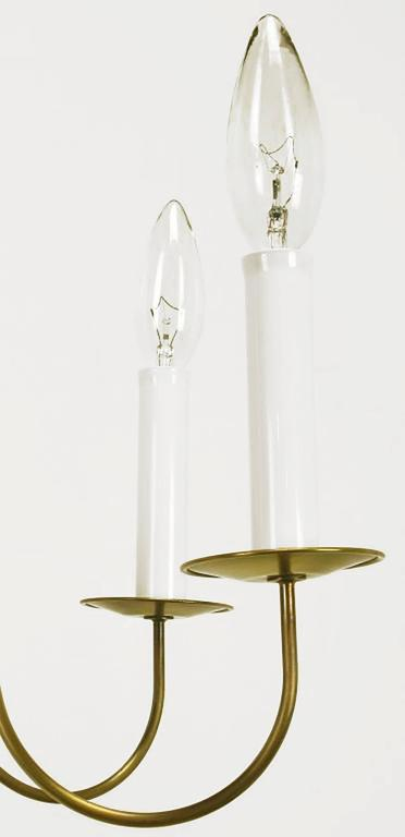 Fine Hand-Spun Brass Eight-Light Chandelier with Delicate Arms For Sale 4