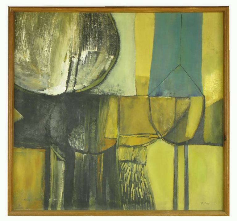 Terrific oil painting on canvass signed R.Post. Abstract Expressionist color and movement with cubist style shapes created by intersecting straight and curved lines. Ochre, teal, black and white colors combine to form shapes of circles, squares and