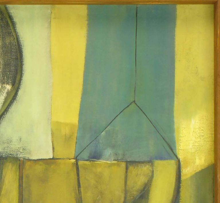 Mid-20th Century Large 1956 Abstract Expressionist Oil Painting on Canvas by R. Post For Sale