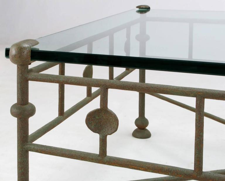Giacometti Style Patinated Hand Wrought Iron And Glass Coffee Table For Sale At 1stdibs