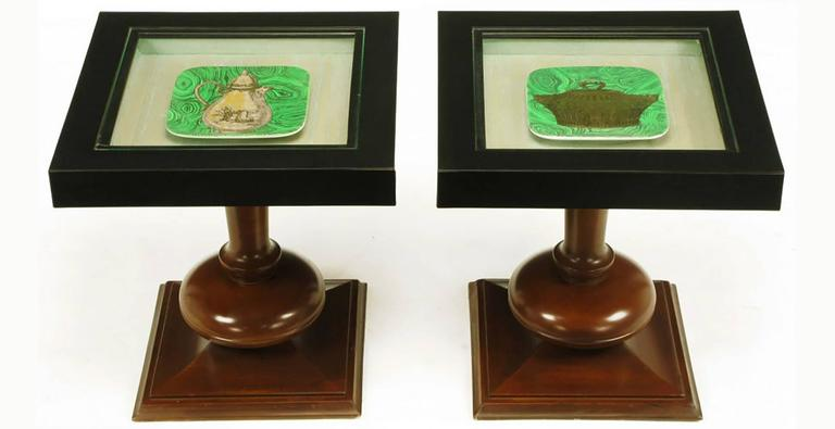 Pair of walnut and Micarta cocktail display tables with Piero Fornasetti malachite and gold square plates. Each plate is beneath a glass top and mounted on a silk lined recessed surface.
