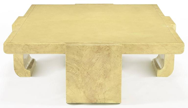 Monumental Asian inspired coffee table in creamy tan hand lacquered faux goatskin with a lizard-textured center by Alessandro for Baker. An amazing coffee table.
