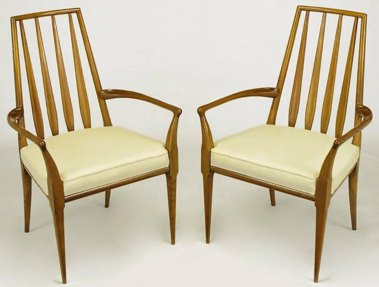 Pair of Bert England Sculpted Walnut and Off-White Linen Slatback Armchairs 2