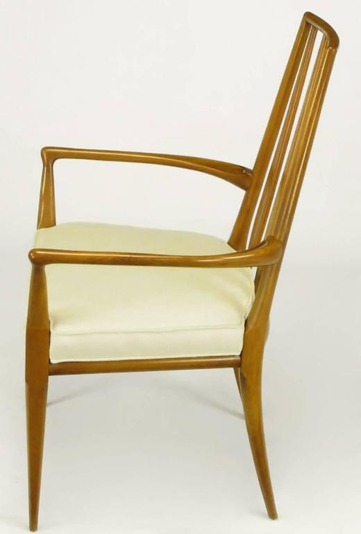 Pair of Bert England Sculpted Walnut and Off-White Linen Slatback Armchairs 4