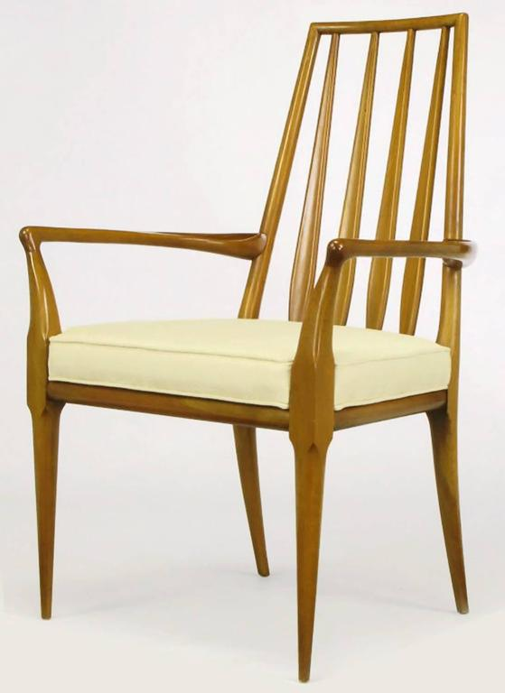 Mid-Century Modern Pair of Bert England Sculpted Walnut and Off-White Linen Slatback Armchairs For Sale
