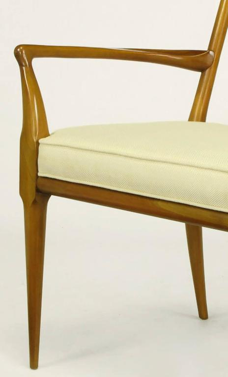 Mid-20th Century Pair of Bert England Sculpted Walnut and Off-White Linen Slatback Armchairs For Sale