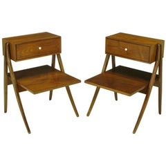 Rare Pair of Kipp Stewart & Stewart Mac Dougall Walnut Nightstands