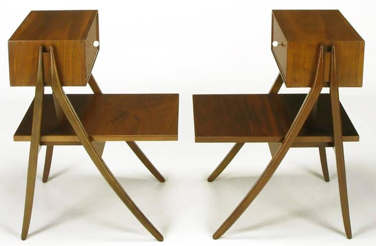 Restored to better than new condition, unbelievably rare pair of A-frame figured walnut nightstands by Kip Stewart and Stewart MacDougall for their Drexel Declaration collection. Top floating drawer with original porcelain ball pulls and brass