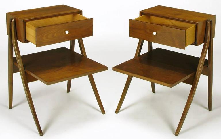 Mid-Century Modern Rare Pair of Kipp Stewart & Stewart Mac Dougall Walnut Nightstands For Sale