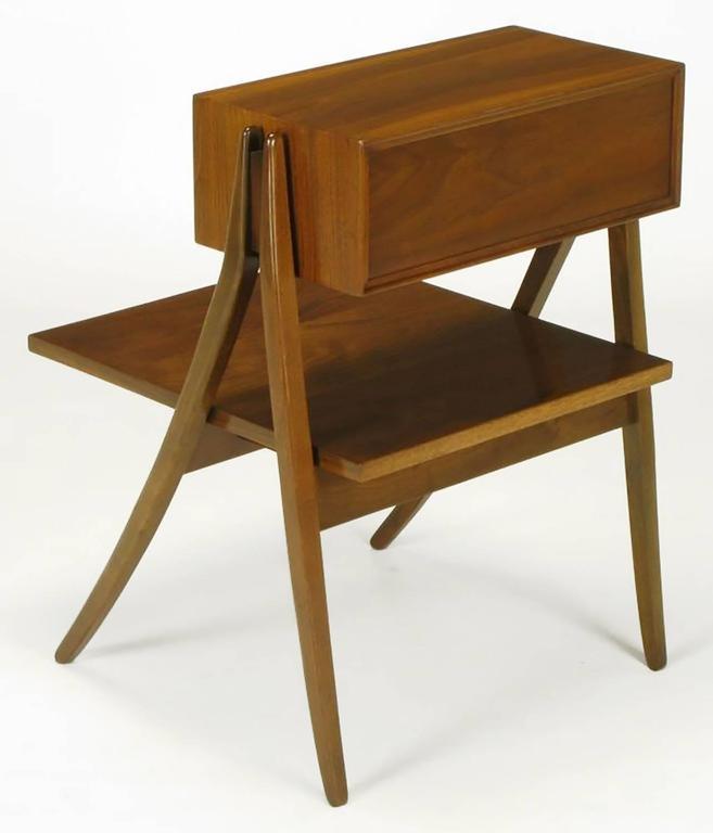Mid-20th Century Rare Pair of Kipp Stewart & Stewart Mac Dougall Walnut Nightstands For Sale