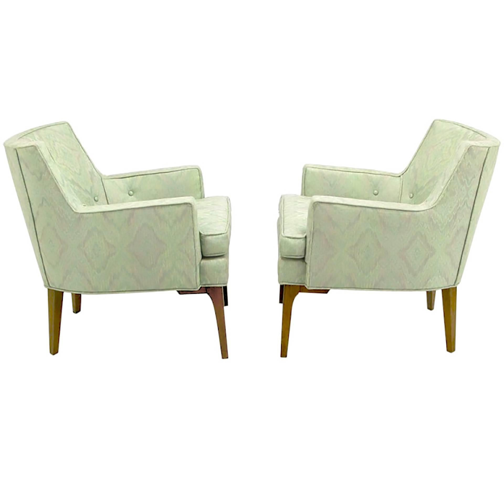 Pair of Classic Barrel-Back Club Chairs in Ikat Upholstery