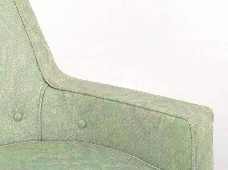 Mid-20th Century Pair of Classic Barrel-Back Club Chairs in Ikat Upholstery For Sale