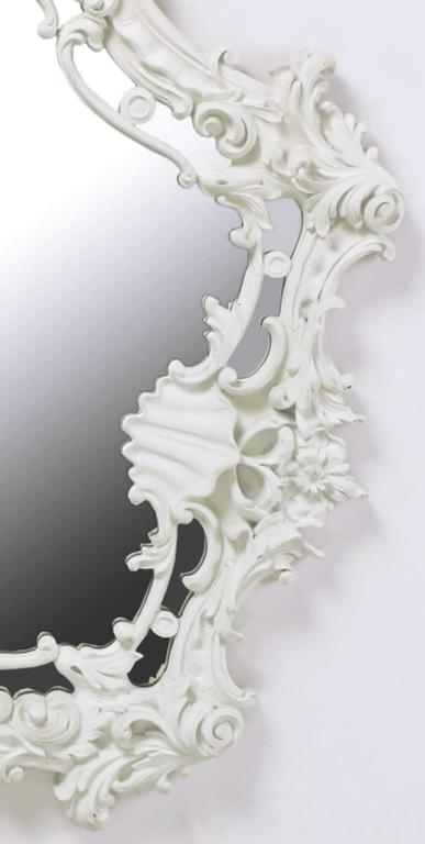 Mid-Century Modern Extraordinary Italian Rococo Style Mirror of White Lacquered Gesso For Sale