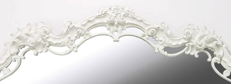 Extraordinary Italian Rococo Style Mirror of White Lacquered Gesso In Good Condition For Sale In Chicago, IL