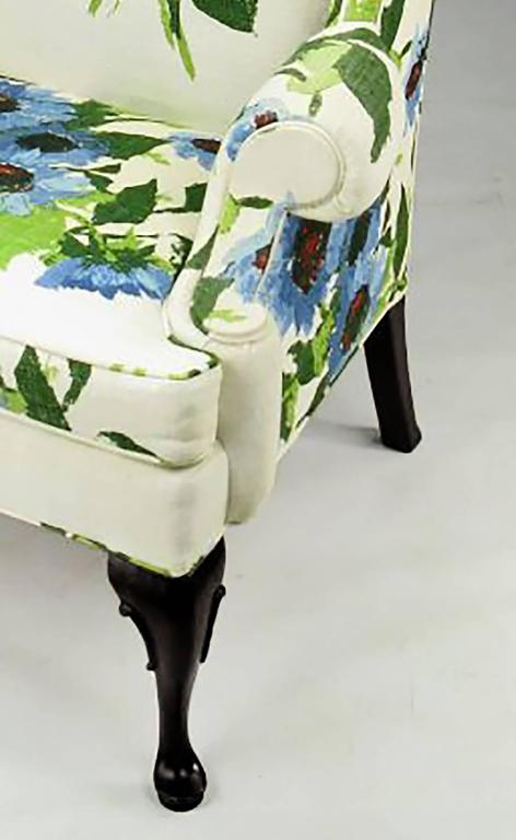 Ebonized Pair of Elegant and Bold Floral Linen Upholstered Wing Chairs by Hickory Chair For Sale