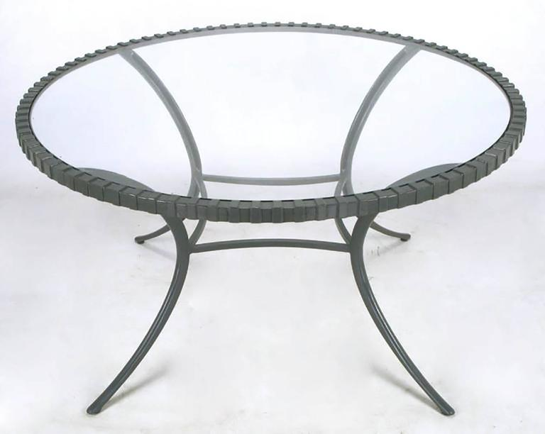 Thinline cast aluminum, glass top dining table in fresh slate gray enamel. One of the first manufacturers of cast aluminum furniture, Thinline used only the best castings and alloys. As a result the Fine edging and crisp lines have stood the test of