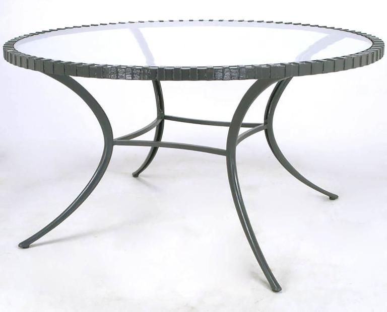 American Incredible Round Klismos Leg Cast Aluminum Dining Table by Thinline For Sale