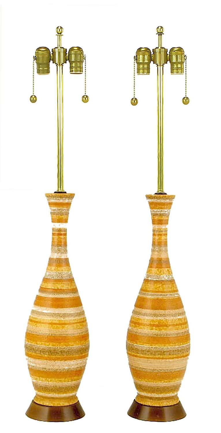 Pair Of Striped Salt Glazed Pottery Table Lamps For Sale