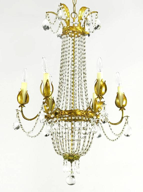 American Italian Gilt, Tole and Crystal Six-Arm Basket Chandelier For Sale