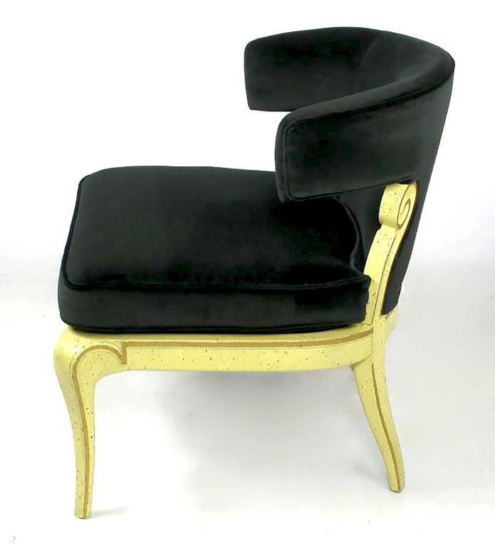Good Mid Century Modern Grosfeld House Sculptural Black Velvet Slipper Chair For  Sale
