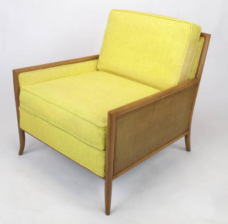 American Pair of Walnut & Yellow Haitian Cotton Lounge Chairs after TH. Robsjohn-Gibbings For Sale